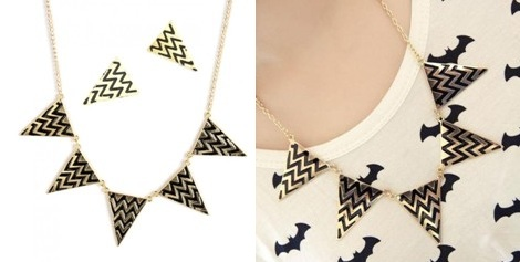 Aztec Print Necklace Set Crunchyfashion