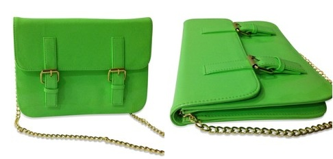 Patent Neon green satchel sling bag - Crunchyfashion
