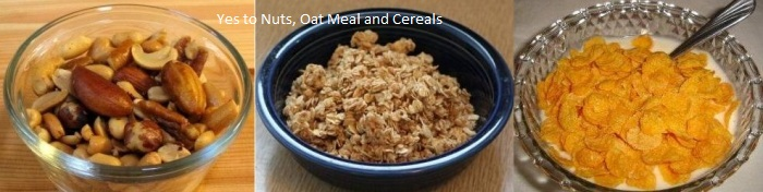 Bowl of Nuts, Oat Meal and Cereals